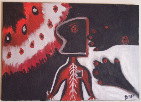 hands:War.jpgn A painting by Besie of a skeletal sketch of a person, their heart, and hands all in red and black, hanging in the Is-tar-ik Cafe in Istanbul