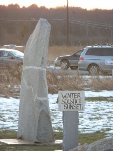 right stone marking winter solstice sunset