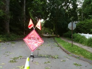 Damage from a spring thunderstorm in New England
