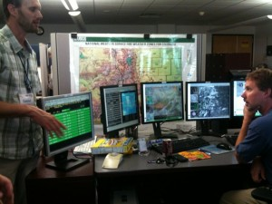 Dan and Todd at the Weather Forecast Office, David Skaggs Research Center (NOAA), Boulder CO