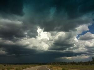 road sky thunderstorm