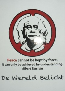 Albert Einstein's call for peace through understanding is a popular graffiti in Antwerp..