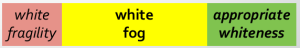 A continuum of character development from white fragility through white fog toward appropriate whiteness.
