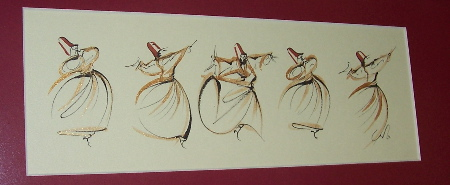 dervishes.jpg photograph of a line drawing of five whirling dervishes, a.k.a. sufi dancers